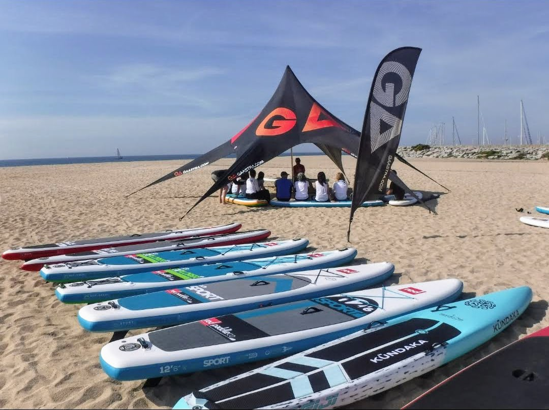 paddle surf, clinic, material, taula, beach area