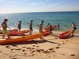 caiac, beach area. platja, mar, lloguer, material