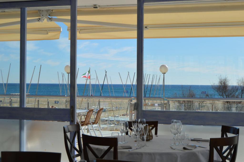 restaurant, nautic, club, seu, mar, vistes
